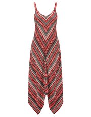 Chevron print hanky hem maxi dress
