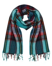 Teal checked scarf
