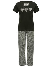 Leopard print love heart pyjamas