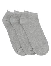 Cotton rich grey trainer socks three pack