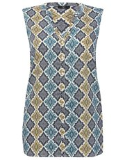 Plus mosaic print sleeveless shirt