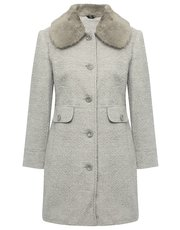 Petite fur collar textured coat