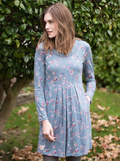 Brakeburn floral embroidered neck dress