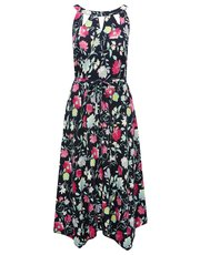 Floral print hanky hem dress