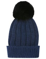 Faux fur pompom knitted hat