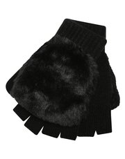 Faux fur flip mitts