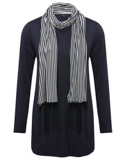 Tunic top with stripe scarf