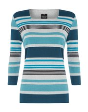 TIGI stripe printed square neck top
