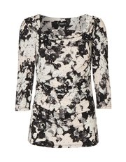 Roman Originals cowl neck blurred floral top