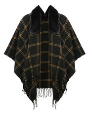 Teens' faux fur collar check wrap