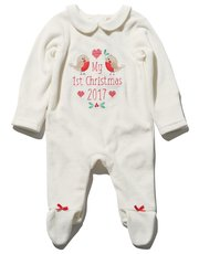 First Christmas bow velour sleepsuit