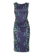 Izabel spring floral ruched midi dress