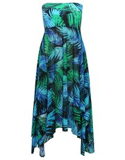 Blue palm print two in one beach dress