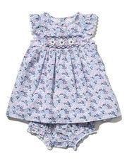 Floral print smock dress and knickers set