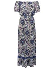 Petite floral tile print bardot maxi dress