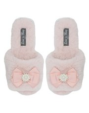 Pearl bow fluffy slider slippers