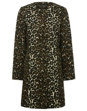 Collarless leopard print coat