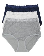 Plain essential lace full briefs multipack