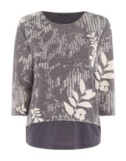 VIZ-A-VIZ layered bamboo leaf printed top