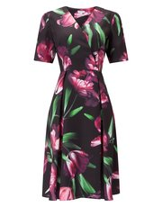 Precis Petite tulip print wrap dress