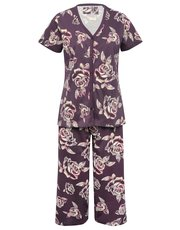 Floral rose print cropped pyjamas