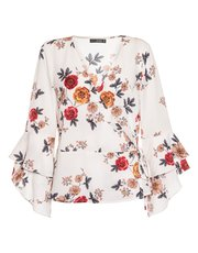 Quiz floral print frill sleeve wrap top