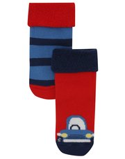 Car and stripe socks two pack