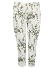 Petite cropped floral jeans