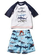 Shark rash guard swim set