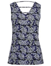 Floral print lattice back vest top
