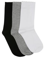 Plain cotton rich socks three pack