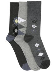 Gentle Grip argyle pattern socks three pack