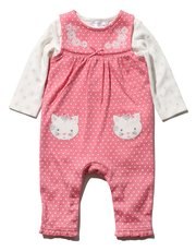 Cat spot dungarees and top set