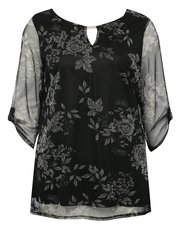 Plus floral print sheer sleeve top