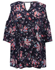 Plus floral print cold shoulder top