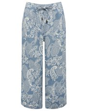 Paisley print cropped linen blend trousers