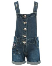 Cat embroidered dungarees