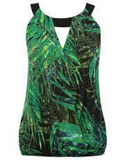 Palm print embellished halter neck top