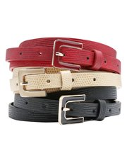 Enamel buckle belt three pack