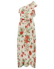 One shoulder floral maxi dress