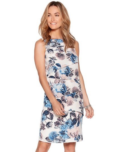 Floral print layered shift dress