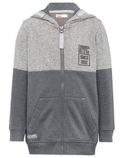 NYC print zip through hooded sweater