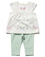 Embroidered butterfly top and leggings set