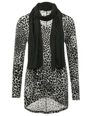 Animal tunic top with scarf