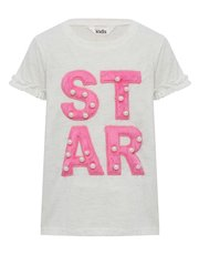 Fluffy slogan pearl embellished t-shirt