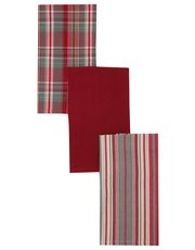 Stripe and check tea towel three pack