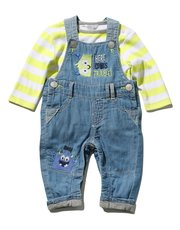 Monster dungarees and stripe top set