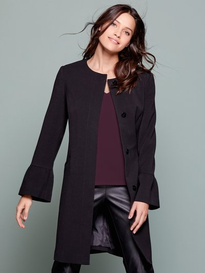 Collarless bell sleeve coat