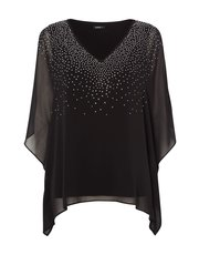 Roman Originals sparkly cold shoulder overlay top