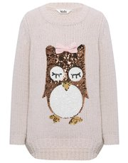 Sequin owl knitted jumper